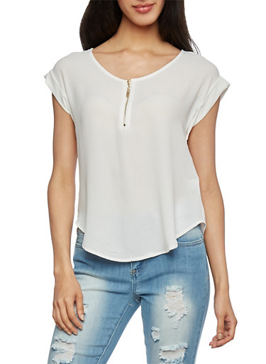 Solid Crepe Top with Zip-Up Scoop Neck,IVORY,large