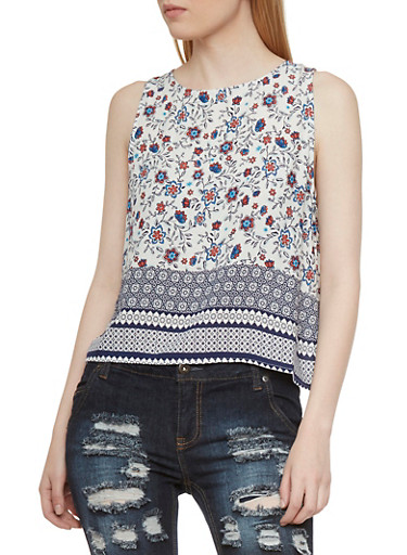 Floral Print Sleeveless Top with Zipper Back,WHITE,large