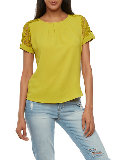 Textured Top with Lace Trim,CITRUS,large