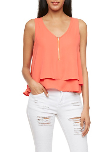 Layered Chiffon Tank Top with Zip Front,RED,large