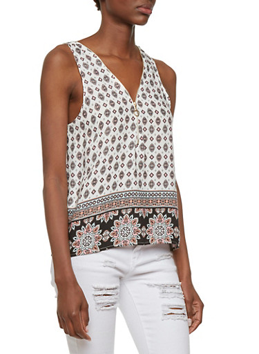 Zipper Neck Paisley Print Top,WHITE,large