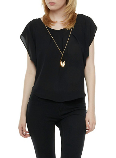 Crepe Top with Bat Wing Sleeves and Removable Necklace,BLACK,large