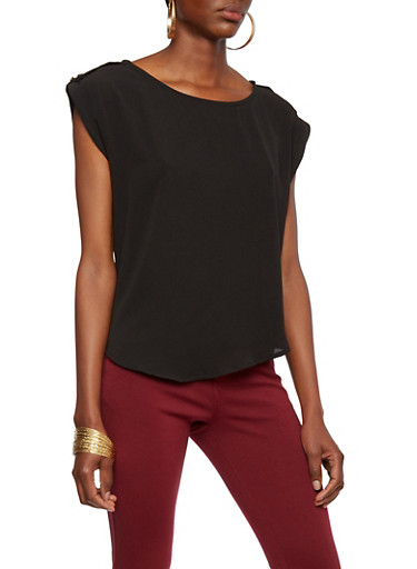 Crepe Top with Button Tab Shoulders,BLACK,large