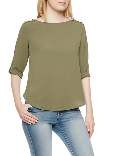 Crepe Top with Metallic Shoulder Buttons,OLIVE,large