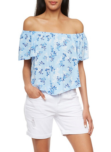 Off-the-Shoulder Top with Floral Print Throughout,BLUE,large