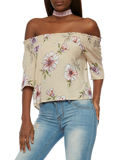 Floral Off the Shoulder Peasant Top,BEIGE,large