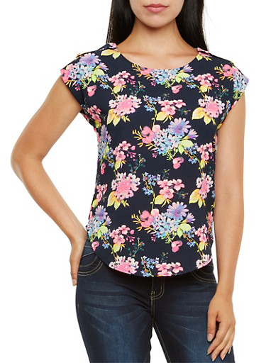 Floral Popover Top,NAVY,large