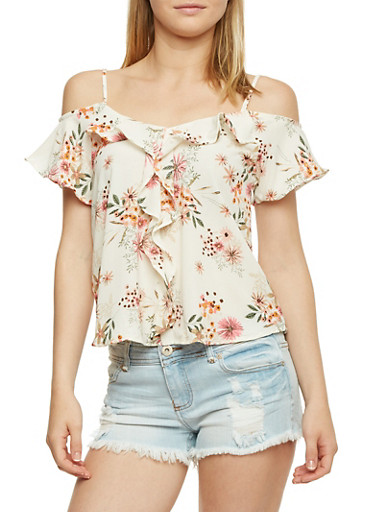 Cold Shoulder Floral Top with Ruffle Trim,IVORY,large