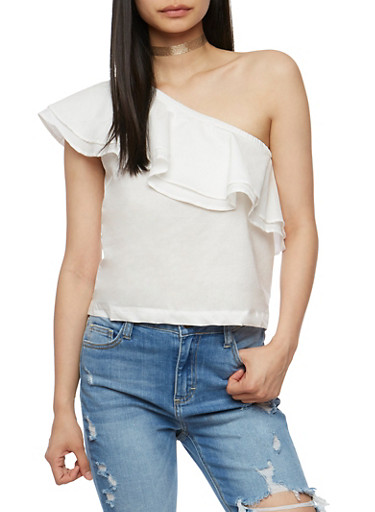 Ruffled One Shoulder Top,WHITE,large
