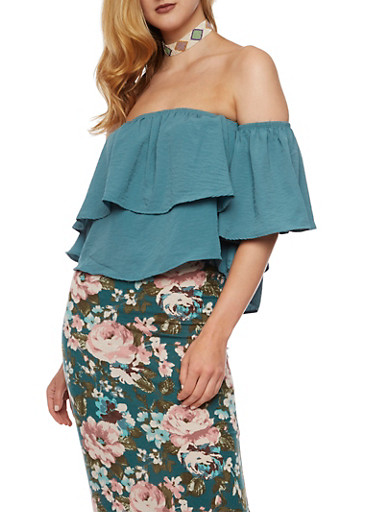 Off the Shoulder Top with Overlay,SAGE,large