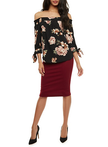 Floral Off the Shoulder Top with Tie Sleeves,BLACK,large