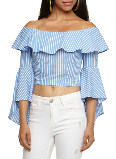 Striped Ruffle Off the Shoulder Crop Top,BLUE WHITE,large