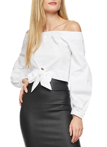 Bubble Sleeve Off the Shoulder Top with Back Zipper,WHITE,large
