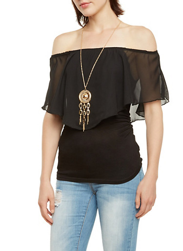 Off the Shoulder Top with Flutter Overlay and Necklace,BLACK,large