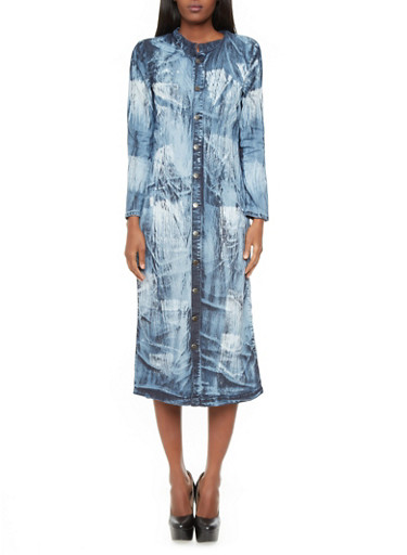 Long Sleeve Acid Wash Denim Button-Down Midi Dress,MARBLE,large