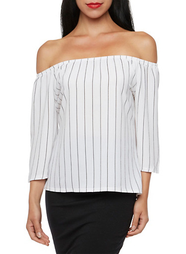 Off The Shoulder Top in Striped Crepe,BLACK/WHITE,large