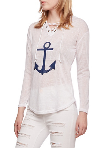 Lightweight Hoodie with Anchor Graphic,WHITE,large