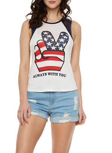 Muscle Tank Top with Peace Sign and Always With You Graphic,NAVY,large
