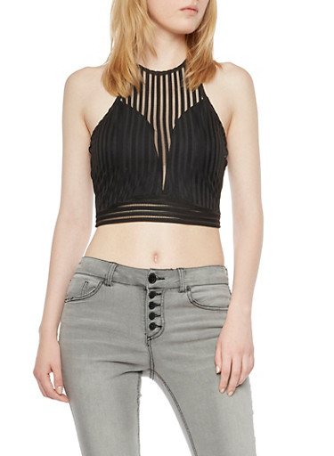 Shadow Stripe Sleeveless Crop Top with Zipper Back,BLACK,large