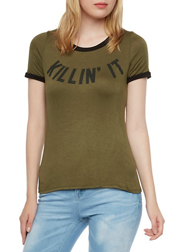 Ringer Top with Killin It Graphic,OLIVE BLK,large