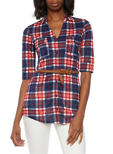 Plaid Tunic Top with Belt,RED,large