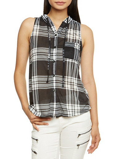Sleeveless Plaid Top with Drawstring Hood,BLACK/WHITE,large
