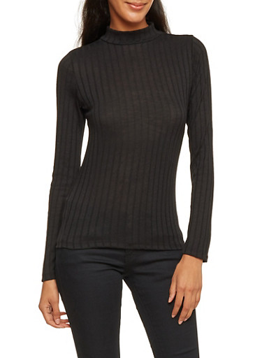 Ribbed Sweater with Mock Neck,BLACK,large