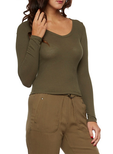 Long Sleeve Top with Scoop Neck,OLIVE,large