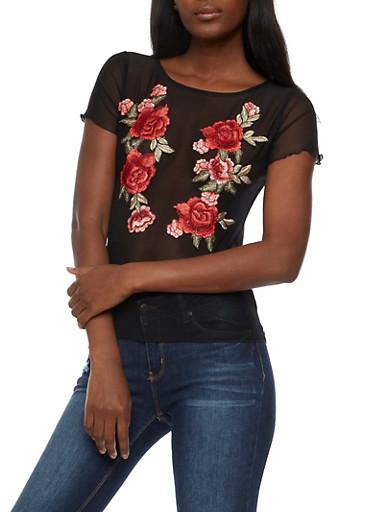 Floral Applique Mesh Top,BLACK,large