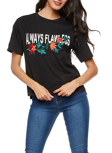 Always Flawless Floral Patch T Shirt,BLACK,large