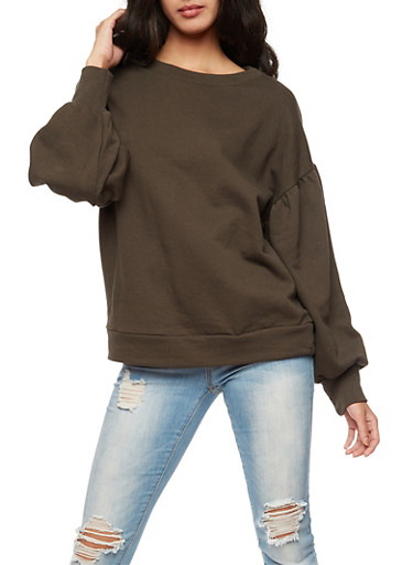Pleated Oversized Sleeve Sweatshirt,OLIVE,large
