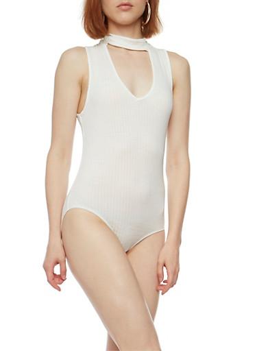 Sleeveless Rib Knit Choker Bodysuit,WHITE,large