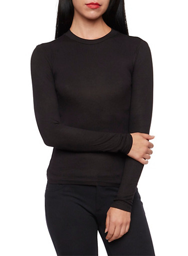 Long Sleeve Rib Knit Top with Crew Neck,BLACK,large