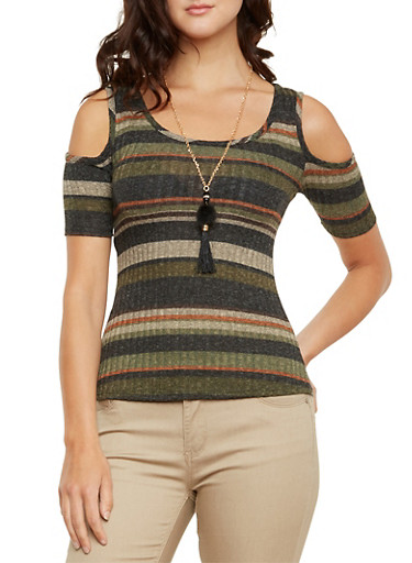 Knit Cold-Shoulder Top with Necklace,OLIVE,large
