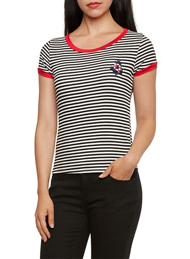 Rib Knit Striped Ringer Tee with Anchor Patch,BLACK/WHITE,large