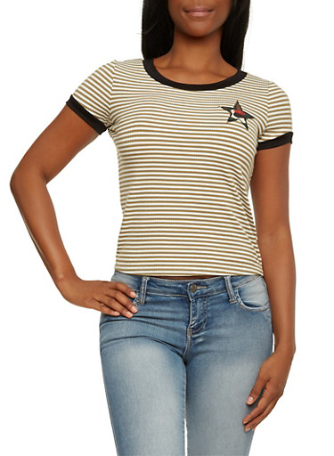Striped Ringer T-Shirt with Army Patch,OLIVE/WHITE,large