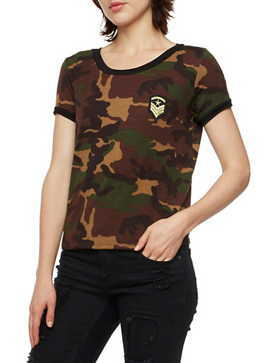 Camo Ringer Tee with Military Patch,CAMOUFLAGE,large
