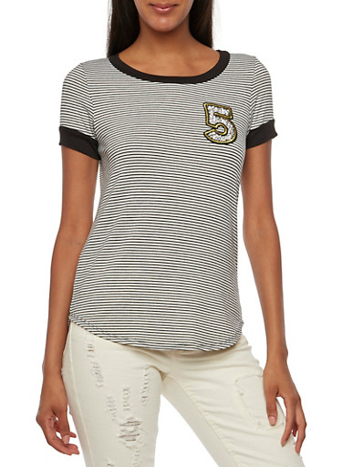 Striped Tee with Number Patch,BLACK,large