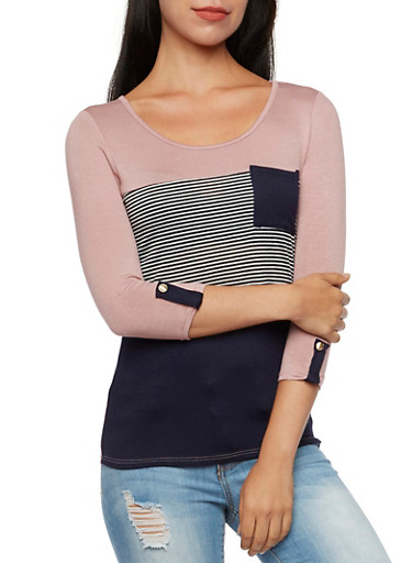 Striped Three-Quarter Sleeve Top with Pocket,MAUVE NAVY,large