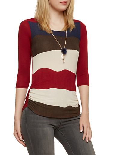 Color Block Ruched Top with Faux Fur Charm Necklace,BURGUNDY,large