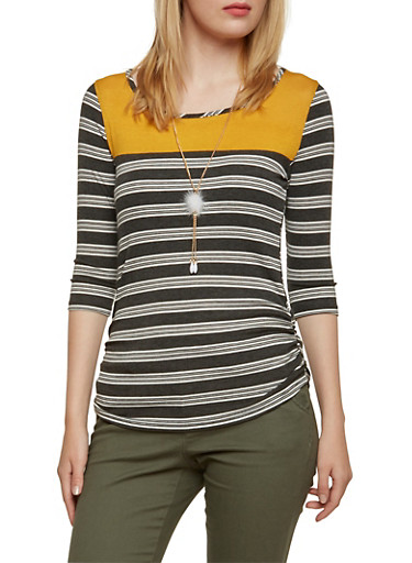 Striped Top with Color Block Panel and Removable Necklace,CHARCOAL,large