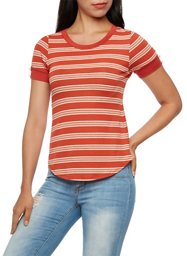 Ribbed Ringer Tee with Stripes,RUST,large