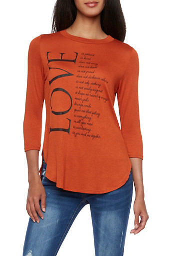 Knit Top with Love Graphic,CINNABAR,large