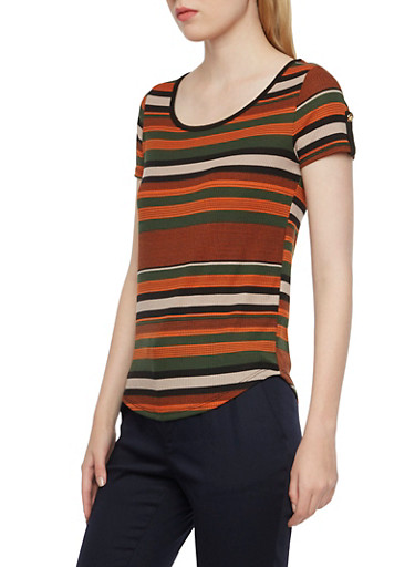 Knit Tops with Varied Stripes,GREEN,large