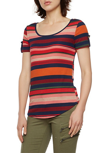 Striped Top with Fixed Cuff Sleeves,MAUVE,large