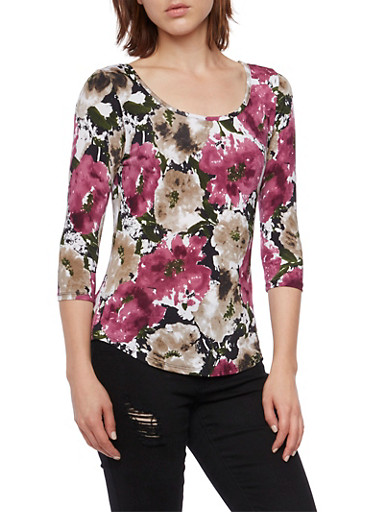 Floral Top in Stretch Knit,PLUM,large