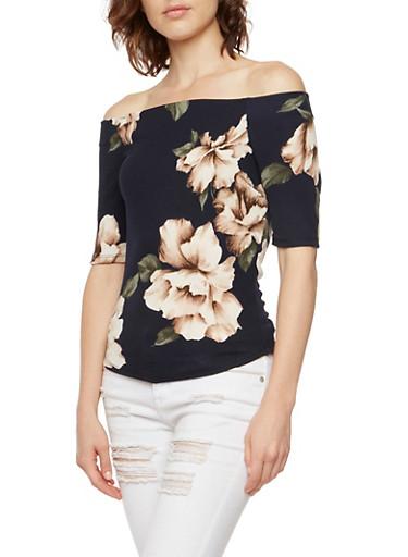 Off the Shoulder Top in Floral Print,NAVY,large