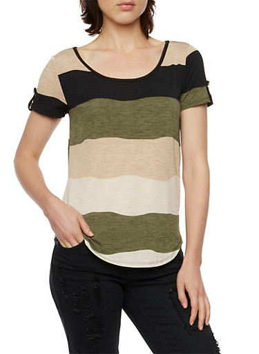 Striped Top with Tabbed Sleeves,OLIVE,large