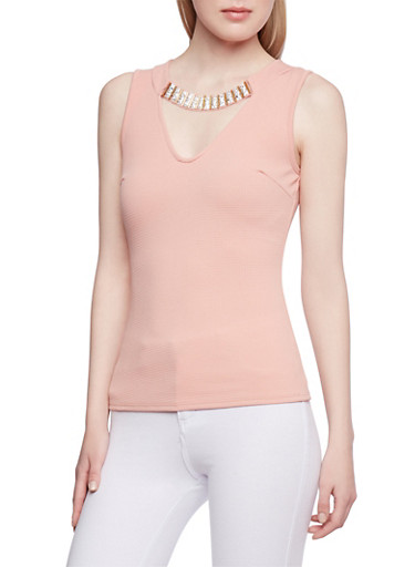 Textured Knit Top with Neckline Detail,MAUVE,large