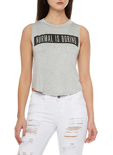 Swing Crop Top with Normal is Boring Graphic,HEATHER,large